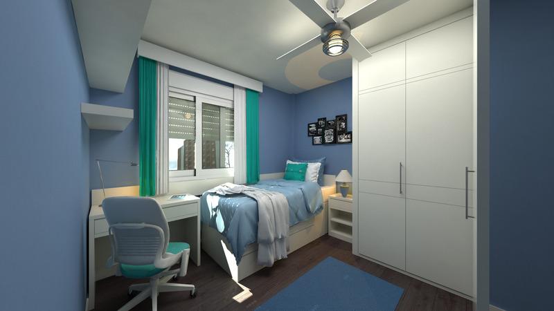 niebieski pokój nastolatka
